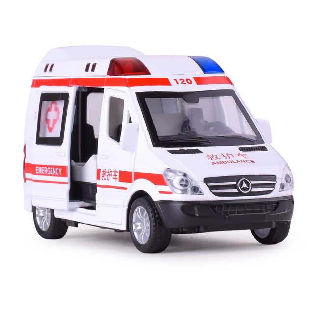 Alloy Ambulance Vehicle with Sounding Light Diecast Car Model Toys for Gifts Collection Hobby