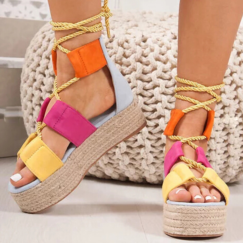2019 Summer Women Flat Sandals Rope Female Beach Shoes Wedge Shoes High Heel Comfortable Platform Sandals Sandalia Feminina