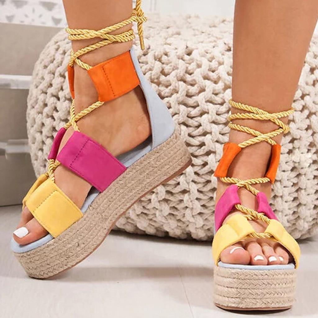 Summer Women Flat Sandals Rope Female