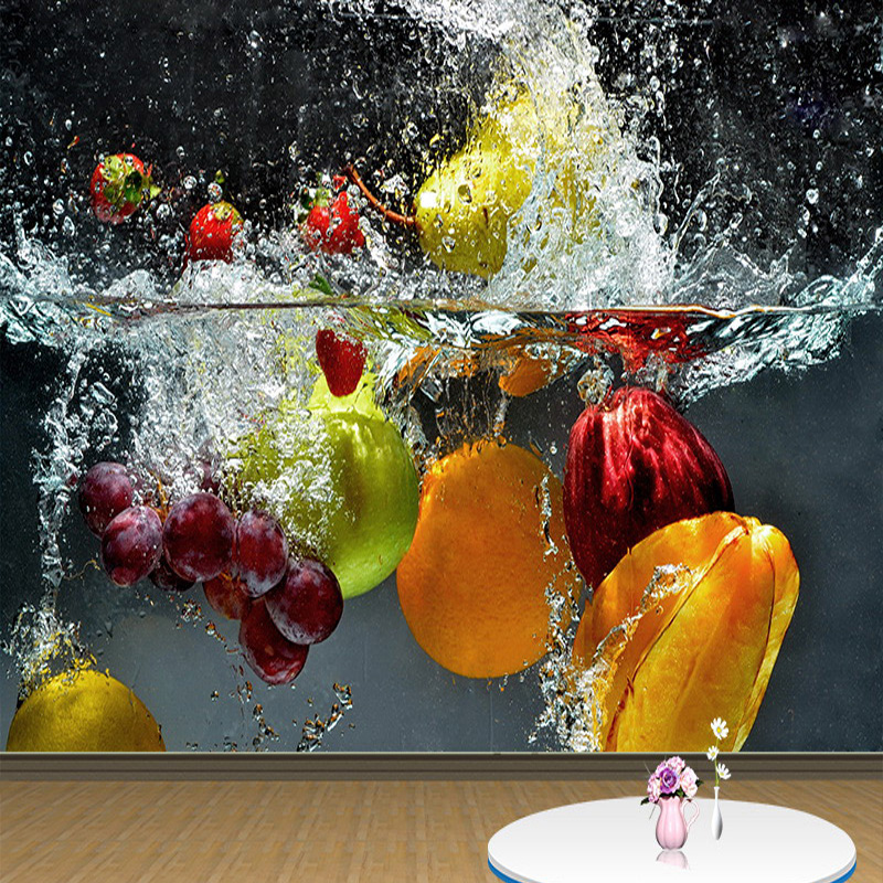 Custom 3D Wallpaper Modern Creative Fruit Falling In Water Mural Restaurant Kitchen Abstract Backdrop Wall Cloth Wall Coverings
