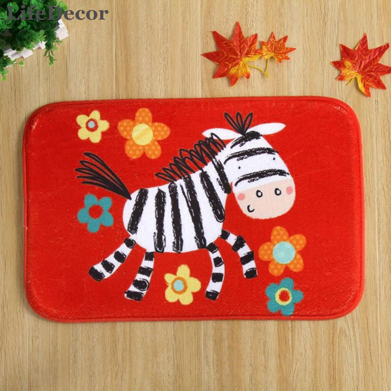 New 40x60cm Red Pony Bath Mat Non-slip Mats Quality coral velvet Rug Shower Carpet for Bathroom Kitchen