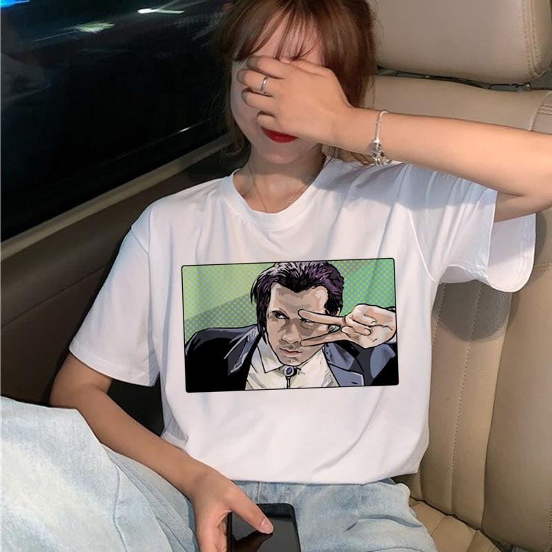 New Pulp Fiction Movie T Shirt Women Harajuku Ullzang 90s Korean T-shirt Aesthetic Funny Print Tshirt Graphic Top Tees Female 20
