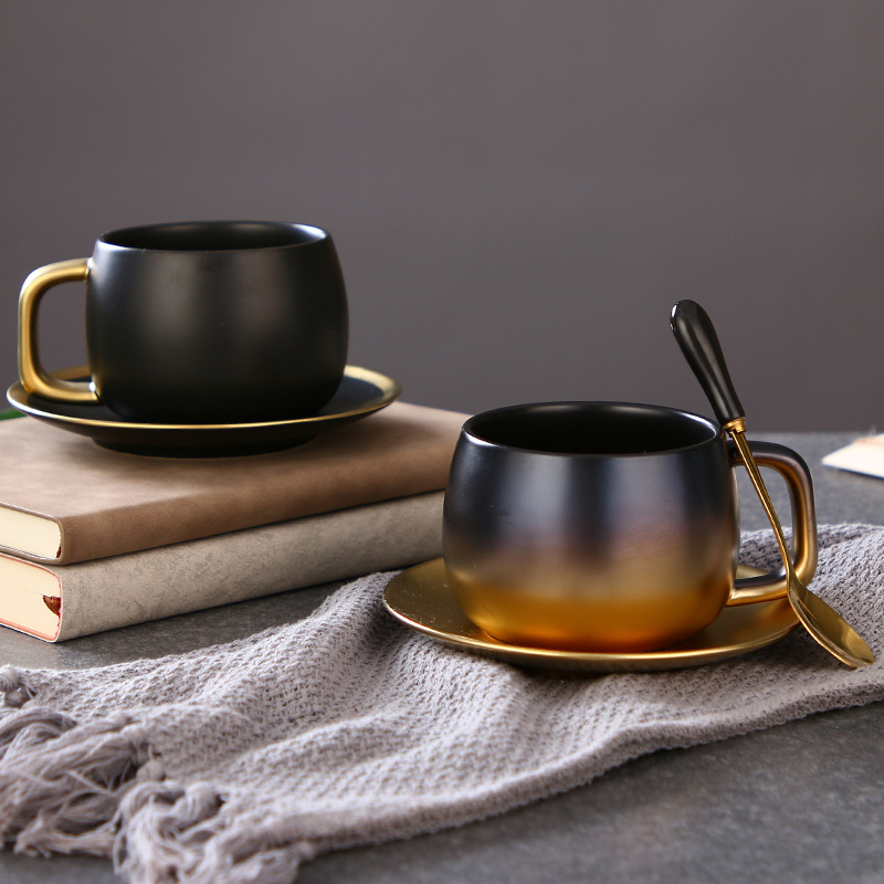 Gradient Gold Matte Black Phnom Penh American Coffee Cup Afternoon Tea Ceramic Cup Creative Coffee Cup And Sacuer Set Coffee Mug Leather Bag