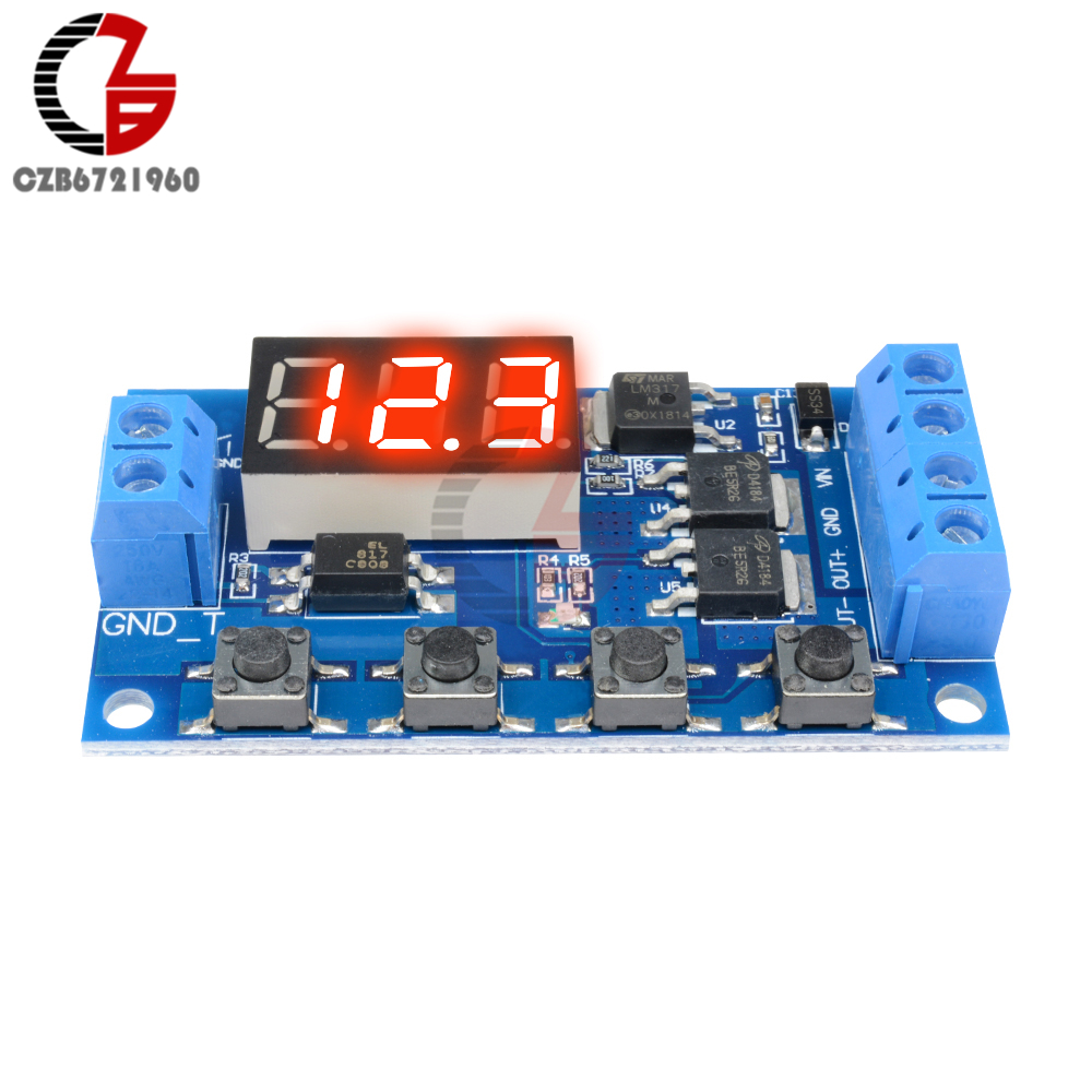 DC 12V 24V Dual MOS LED Digital Time Delay Relay Trigger Cycle Timer Delay Switch Circuit Board Timing Control Module DIY
