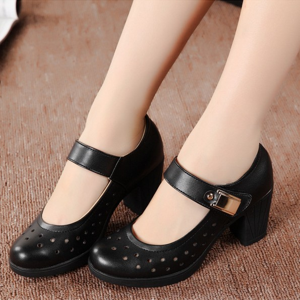 Women Genuine Leather Pumps Office Lady Shoes For Woman Comfort Work Mother Zapatos Sapatos Middle Heel Wedges In S From On