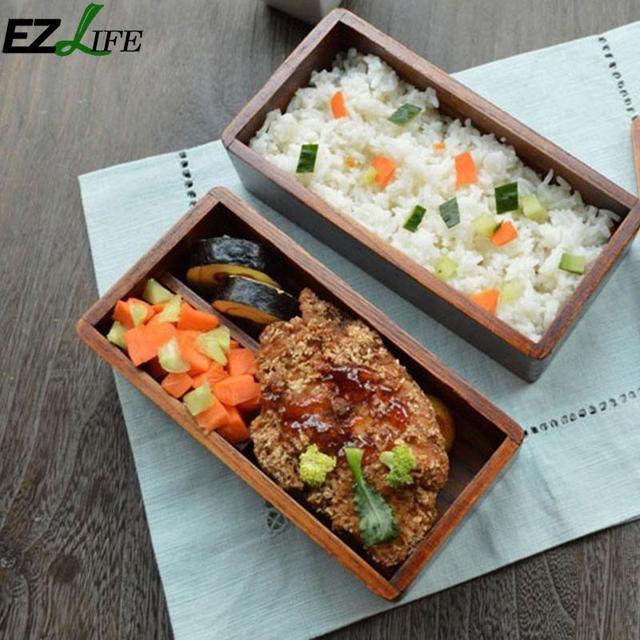 EZLIFE деревянный Еда коробке японские традиционные натурального дерева квадратный двойной Слои дерево Bento Box Пикник суши Еда контейнер