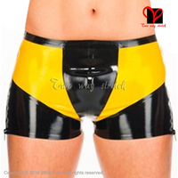 Sexy Latex boxer short with yellow trims Rubber Briefs panty Underpants Underwear pants bottoms boy shorts KZ 161