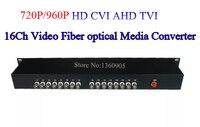 960 P 16ch AHD CVI TVI видео оптический преобразователь одиночный режим 20 км Оптическое волокно видео оптический передатчик и приемник 16 CH видео BNC