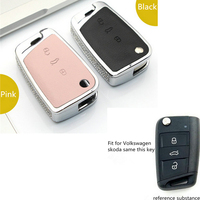 Diamond Zinc Alloy Black Pink Leather Car Key Fob Cover Case Shell For Volkswagen VW Golf