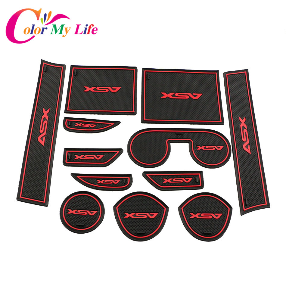 12Pcs  Lot Non Slip Interior Door Pad Cup Mat Door Gate Slot Mat Case for Mitsubishi ASX 2013-2018 Auto Accessories Car Styling