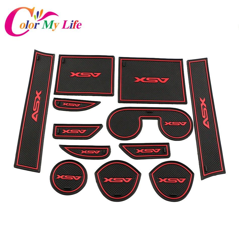 12Pcs /Lot Non Slip Interior Door Pad Cup Mat Door Gate Slot Mat Case for Mitsubishi ASX 2013-2018 Auto Accessories Car Styling