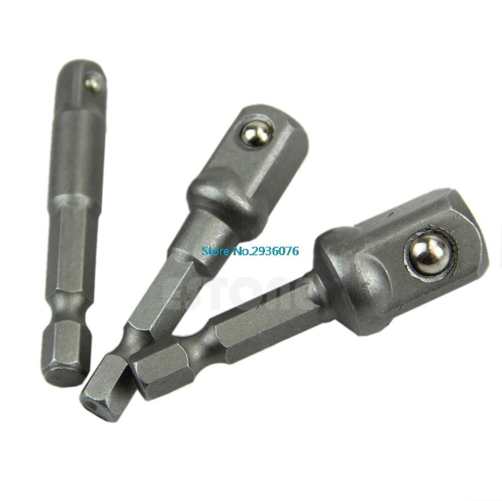 3pcs/lot Steel Drill Bit Bar Hex Socket Driver Shank Adapter Set Easy Use 1/4 3/8 1/2 MAR13 8pcs socket bits adapter set hex drill nut driver power shank 1 4