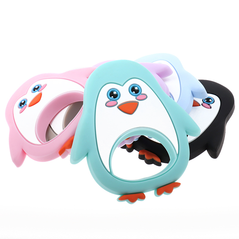 10PCS  Penguin Baby Silicone Teether Bpa Free Silicone Teethers Silicone Teething Pendant Chew Toys Kids Baby Present