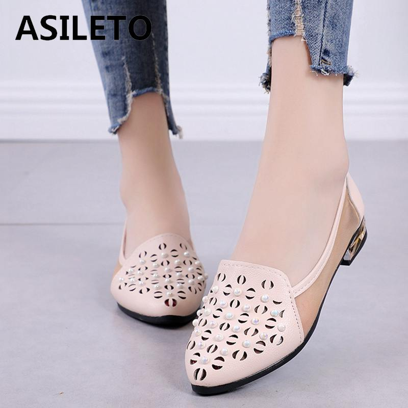 ASILETO Spring Autumn Woman Flats Shoes Casual Loafers Slip On Women pointy Pearl flat Shoes Ladies shoes sapato feminino B640s стоимость