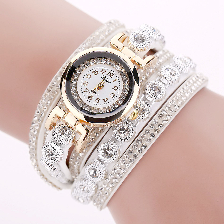 Duoya Brand Women Bracelet Watch 2016 Crystal Round Dial Luxury Wrist Watch For Women Dress Gold Ladies Leather Clock Watch 11