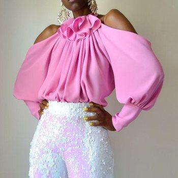цена на Women Tops And Blouses 2019 Pink Lantern Sleeve Elegant Office Lady Female Ruffles Cold Shoulder Shirts Plus Size Blouse