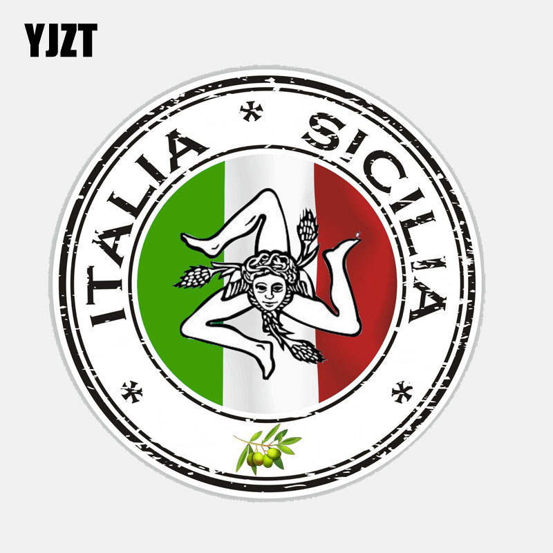 YJZT 11.9CM*11.9CM Car Accessories Italia Sicilia Decal PVC Window Car Sticker 6-2682