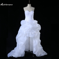 Robe De Marriage White Organza Sweetheart Hi Low Beach Wedding Dresses 2016 Front Short Long Back