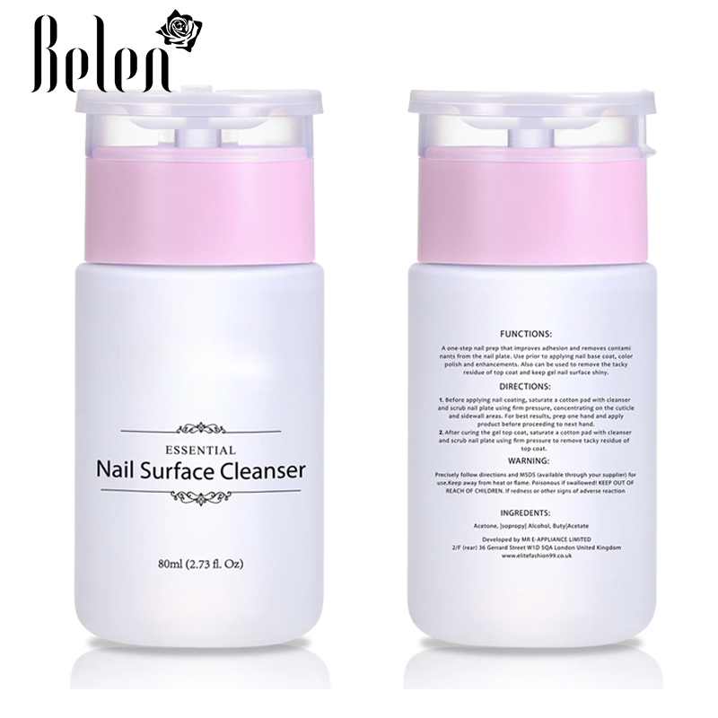 Belen 1pcs 80ml Nail Surface Cleanser Gel Polish Remover UV Gel Sticky Remover Liquid Enhance Shine Effect Cleanser Remover Tool