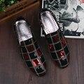 CANGMA 2017 Mocasines Italianos de Lujo Glitter Lentejuelas Negro Rojo de Los Hombres Planos de Los Hombres Zapatos Casuales Zapatos de Vestir de Negocios Schoenen Mannen