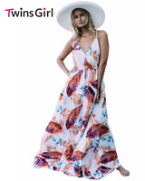 Elegant Summer Sexy V Neck Foiled Flower Print Sexy V Neck  Maxi DressVestidos de festa  Party Long Dresses LC61569