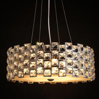 T Retro American Square Crystal Pendant Light Black Iron For Dining Room Restaurant Bedroom Study Room