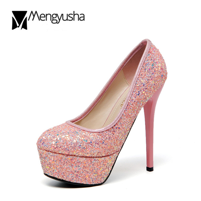 f88e69ee52d3 Wedding Party Shoes Women Sexy Super high heels White Silver Pink glitter  Pumps Bling