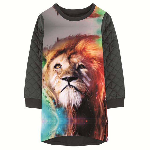 473f674f0bcb4 Girls Dresses More color lion Print Children winter Designer baby Kids  Clothes grid new Fashion Kids Long sleeve Girl clothing