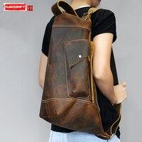 HANSOMFY Crossbody Bags Shoulder Bag Multi function Men's Bag Retro Men's Genuine Leather Handmade Crazy Horse Leather Vintage