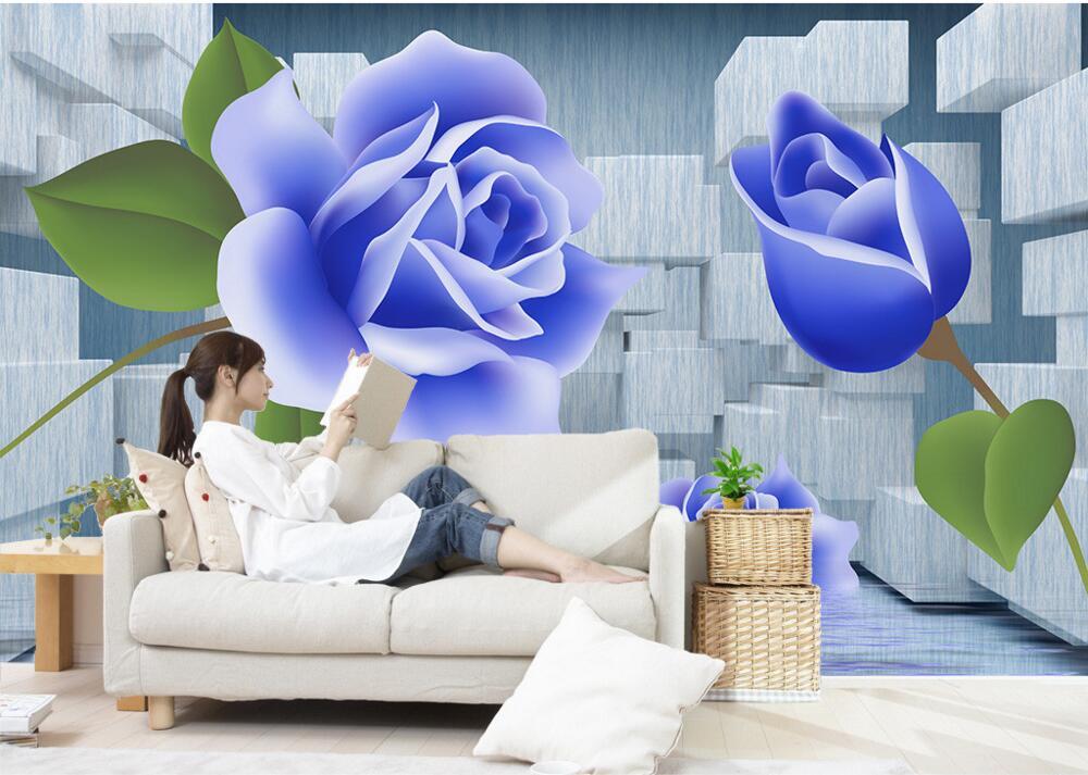 Custom 3D mural,3D square, blue rose in water papel de parede, living room sofa tv wall children bedroom large wallpaper murals custom mural wallpaper european graffiti art large wall painting papel de parede living room bedroom decorative wallpaper murals