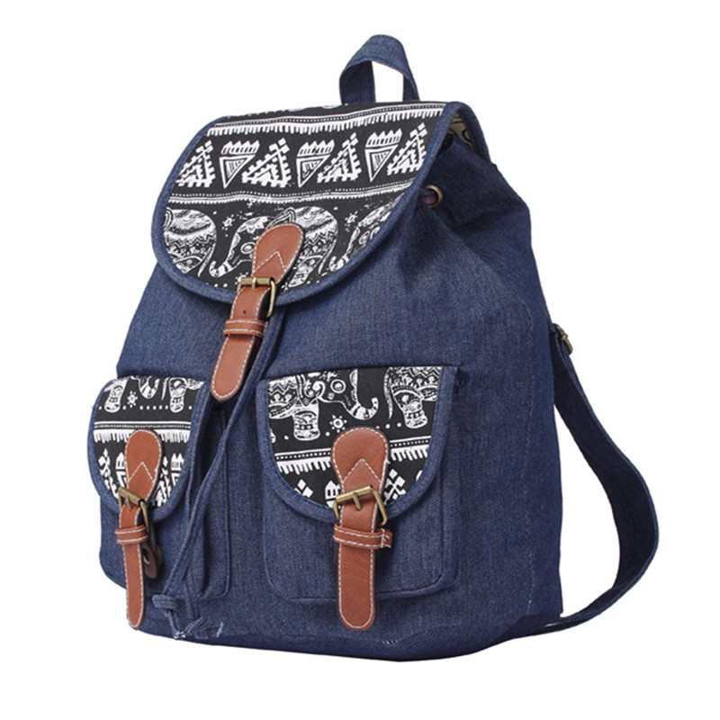 0c1e91e779b6 Jeans Denim Canvas Bagpacks for Women Vintage Elephant Printing Backpack  Teenage Girls Travel Rucksack String School Bags A53-in Backpacks from  Luggage ...