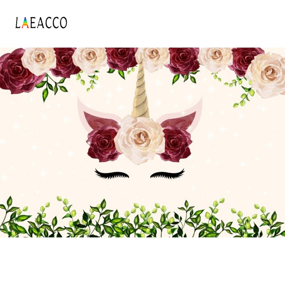 Laeacco Flowers Pink Unicorn Party Baby Portrait Photography Backgrounds Customized Photographic Backdrops For Photo Studio