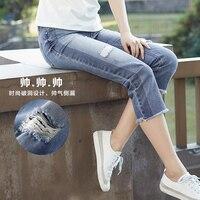 Инман Для женщин 2018 Летние Новые цветочные Рыхлителя Stonewash джинсы Подрезанные штаны