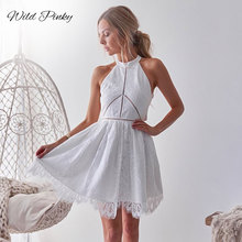 WildPinky Women Dress 2019 Hollow Out Summer Dresses Sleeveless Casual White Lace Dress Sexy Halter Boho Beach Dress Vestidos