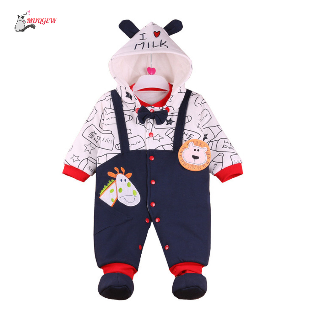 2017 New clothes Newborn Baby Boys Girls Cotton Warm thick Cartoon Hoodie Rompers Animals style winter soft home Clothes MUQGEW
