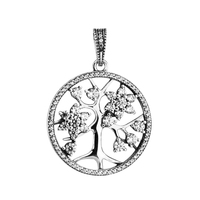 FANDOLA Genuine 925 Sterling Silver Jewelry Necklaces for Women Family Tree Silver Pendant and Necklace with Clear CZ 80CM Chain