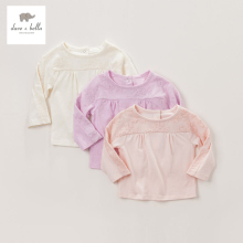 DB3713 dave bella autumn baby girls embroidery t shirt baby pink lavender beige T-shirt baby cotton blouse girl tops