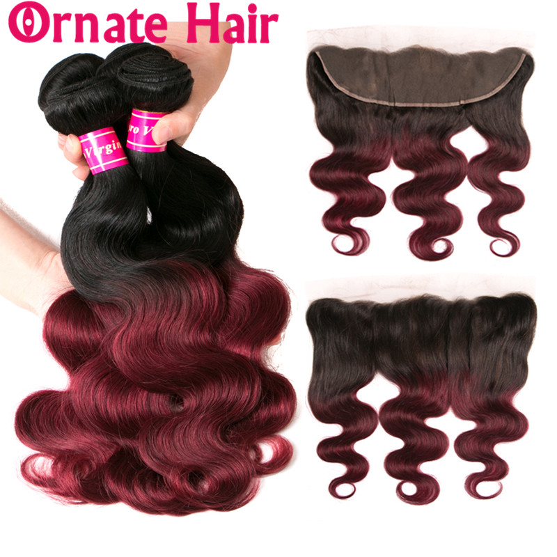 Ornate Brazilian Human Hair Bundles With Lace Frontal Closure Body Wave Hair Extension With Closure Pre Colored Hair1b/99J 1b/33