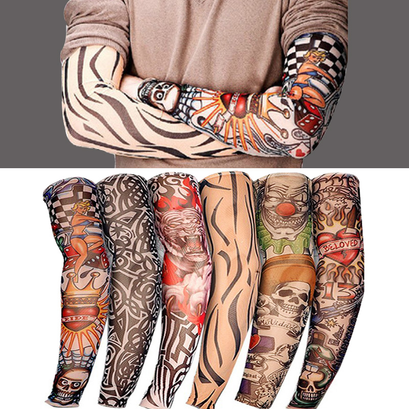 Elastic Tattoo Sleeve 1Pcs Riding UV CareTattoo Arm Sleeves Unisex Arm Stockings Temporary Fake Slip On Tattoo Arm Sleeves Kit