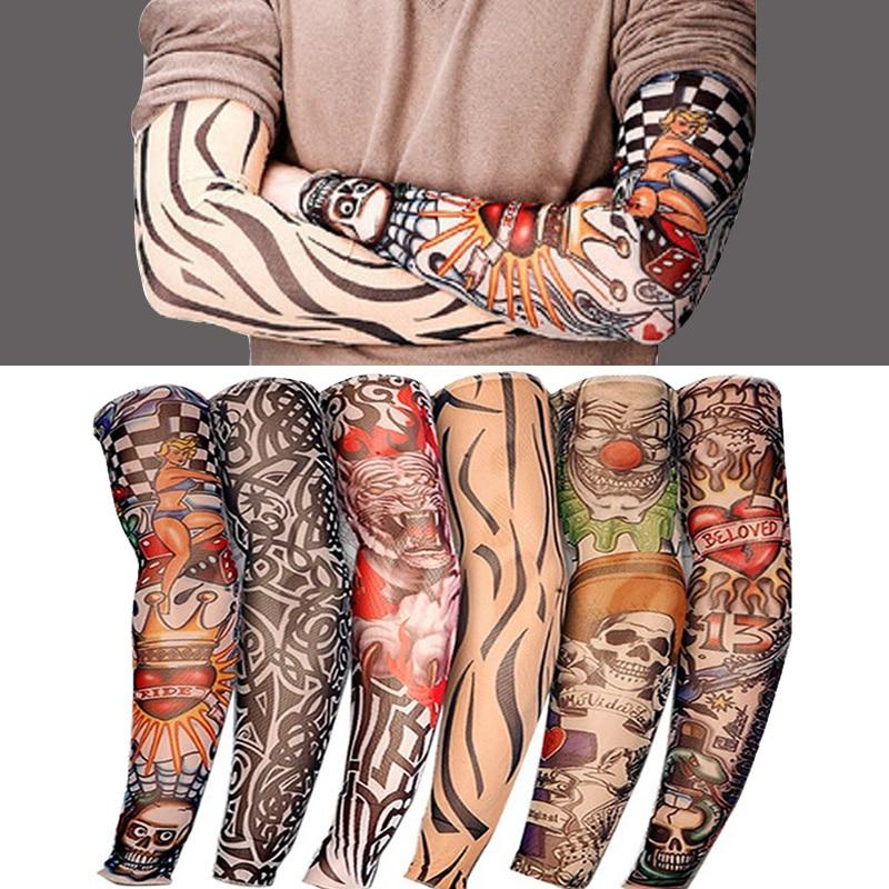 Elastic Tattoo Sleeve 1Pcs Riding UV CareTattoo Arm Sleeves Unisex Arm Stockings Temporary Fake Slip On Tattoo Arm Sleeves Kit