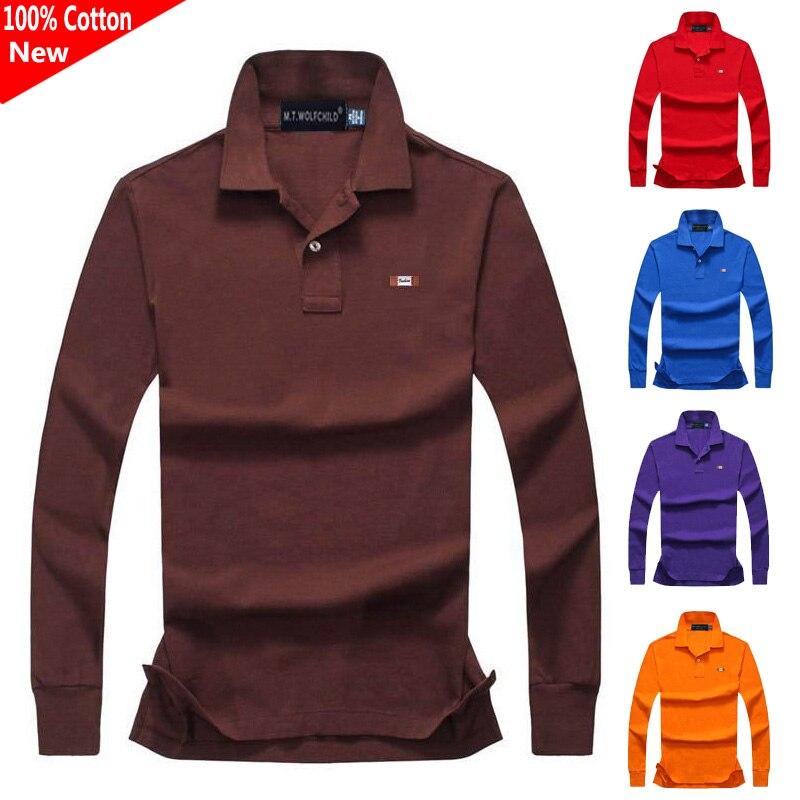 High quality 2019 New Men's long sleeve brand   polos   shirts casual 100% cotton mens lapel   polos   shirts fashion mens tops XS-4XL