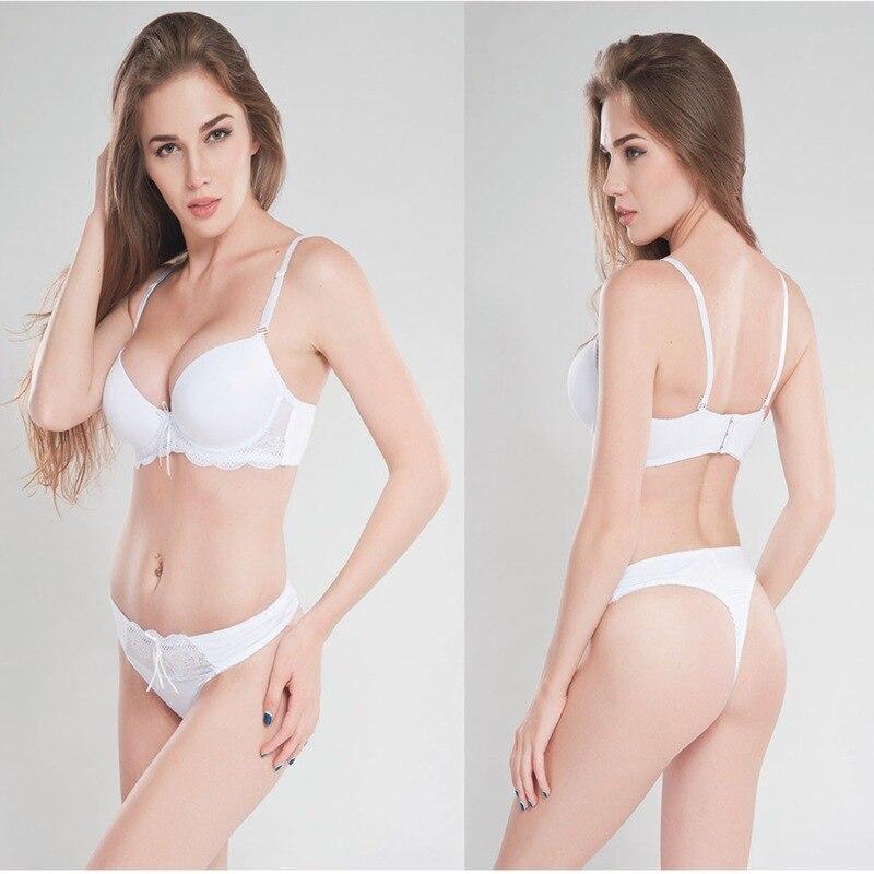 Sexy lace thong   bra     set   large size ladies underwear   set   three-row buckle gathered comfortable breathable   bra   black   bra