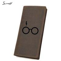 Engraved Leather Wallet School Boys Harry Potter Glasses Long Purse Zip Pocket Multi Card Holder Harry