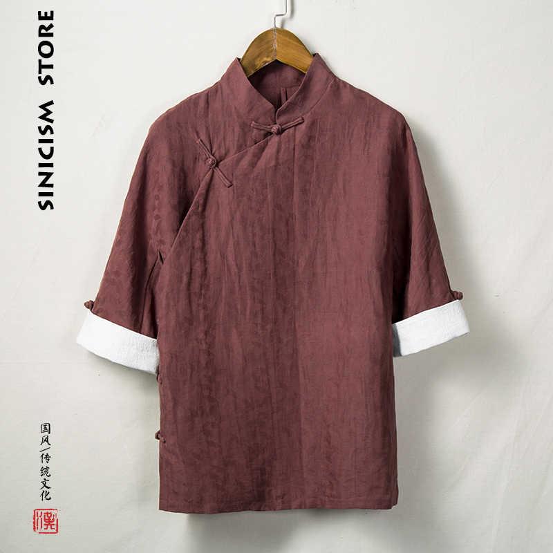 Sinicism магазин мужские хлопковые льняные рубашки человек три четверти рукав Твердые высококачественные рубашки мужские рубашки больших размеров 2019 Новинка