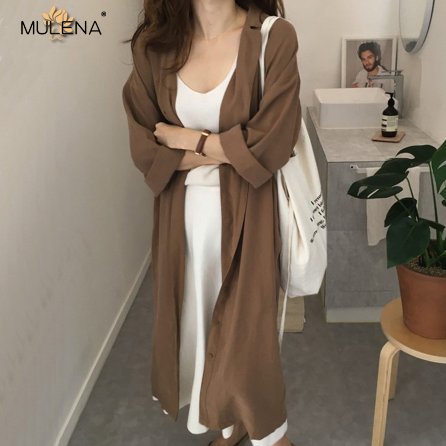 Mulena korean style solid long   trench   women spring autumn notched collar sash button straight thin plus size long coats female