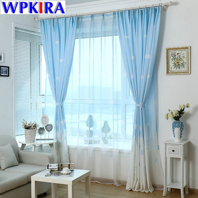 Contemporary Korean Cloud Castle Cartoon Print Curtains for Children Cloth Nursery Sheer Tulle Curtains Cotton Kids Blinds Modern - blue bedroom curtains In 2019