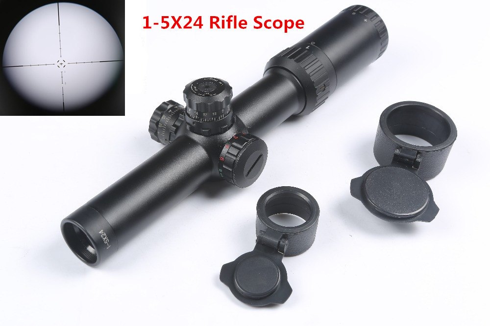 Tactical 1-5X24 Rifle Scope  Red Green Illuminated Riflescope 30mm Tube Air Rifle Sight Caza Mira Para Optical Hunting Caza аксессуар для электроинструментов bosch 1600 a 001 yd