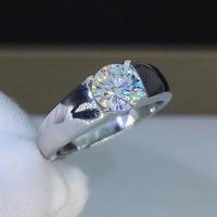 Простой 1ct карат Круглый Муассанит обручальные кольца Для Мужчин's 925 пробы серебряные кольца с платиновым покрытием мужской D Цвет VVS1 ясност