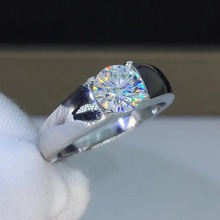 Simple 1ct Carat Round Moissanite Wedding Rings Men's 925 Sterling Silver Platinum Plated Rings Male D Color VVS1 CLARITY недорого