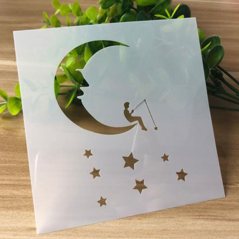 Fishing Under The Moon Painting Template Embossing Craft Bullet Journal Accessories Sjablonen For Scrapbooking Stencil Reusable